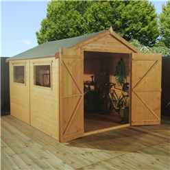 10ft x 8ft Deluxe Workshop With Double Doors + 2 Windows (12mm T&G Floor & Roof)