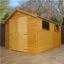 12ft x 8ft Deluxe Workshop With Double Doors + 2 Windows (12mm T&G Floor & Roof)