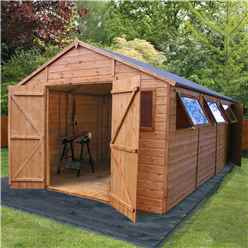 20ft x 10ft Deluxe Tongue & Groove Workshop With Double Doors, Extra Side Door + 5 Windows (12mm T&G Floor & Roof)