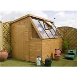 8ft x 6ft (2.43m x 1.83m) Premier Potting Shed + Free Potting Bench With Single Door (door can be placed either end) (12mm T&G Floor & Roof)