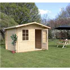 3m x 2.4m BLOSSOM Log Cabin (Single Glazing) + Free Floor & Felt & Safety Glass (28mm)