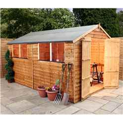 10ft x 8ft Super Saver Overlap Apex Shed With Double Doors + 4 Windows (10mm Solid Osb Floor)