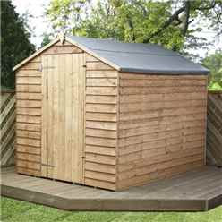 **FLASH REDUCTION** 8ft x 6ft (2.40m x 1.90m) Super Saver Overlap Apex Windowless Shed With Single Door (Solid 10mm OSB Floor)