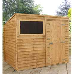 8ft x 6ft Super Saver Overlap Pent Shed With Single Door + 1 Window (solid 10mm Osb Floor)