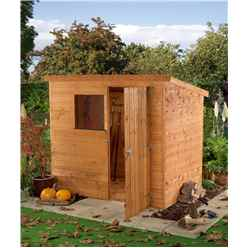 6ft x 4ft Tongue & Groove Pent Shed With Single Door + 1 Window (10mm Solid OSB Floor)