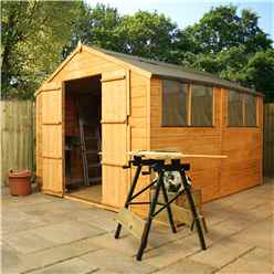 10ft x 8ft Tongue & Groove Apex Shed With Double Doors + 4 Windows (10mm Solid OSB Floor)
