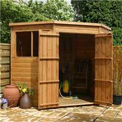 7ft x 7ft (1.99m x 1.99m) Budget Tongue And Groove Corner Shed With Double Doors + 2 Windows (10mm Solid OSB Floor)