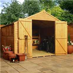 10ft x 10ft (3.0m x 3.1m) Super Saver Overlap Apex Workshop With Double Doors +  4 Windows (10mm Solid OSB Floor)