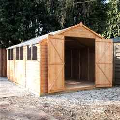 15ft x 10ft (4.5m x 3.1m) Super Saver Overlap Apex Workshop With Double Doors + 6 Windows (10mm Solid OSB Floor)