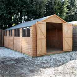20ft x 10ft (6.0m x 3.1m) Super Saver Overlap Apex Workshop With Double Doors +  8 Windows (10mm Solid OSB Floor)