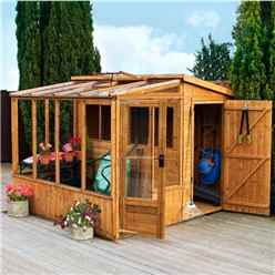 8ft x 8ft Premier Tongue & Groove Combi Pent Shed With 2 Single Doors + Greenhouse (12mm T&G Floor & Roof)