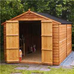 10ft x 8ft (3.02m x 2.48m) Windowless Super Saver Overlap Apex Shed With Double Doors (10mm Solid OSB Floor)