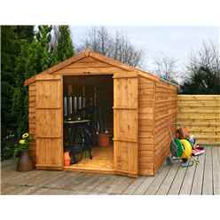 12ft x 8ft (3.57m x 2.48m) Windowless Super Saver Overlap Apex Shed With Double Doors (10mm Solid OSB Floor)