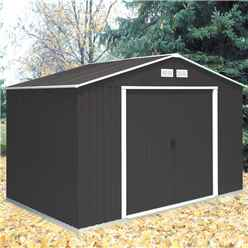 **PRE-ORDER: DUE BACK IN STOCK 21ST AUGUST** 10ft x 8ft Anthracite Metal Shed (3.21m x 2.42m)