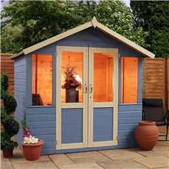 7ft x 5ft (2.12m x 1.48m) Devon Summerhouse (1/2 Styrene Glazed Doors) (10mm Solid OSB Floor & Roof)