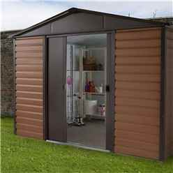 "Yardmaster 9' 4"" x 7' 5"" Woodgrain Metal Shed + FREE ANCHOR KIT (2.85m x 2.26m)"