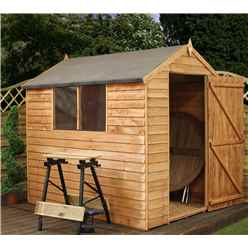 7ft x 5ft (2.18m x 1.64m) Buckingham Overlap Apex Shed With Single Door + 2 Windows (10mm Solid OSB Floor & Roof)