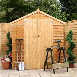 10ft x 6ft Cambridge Overlap Apex Shed With Double Doors + 4 Windows (10mm Solid OSB Floor)