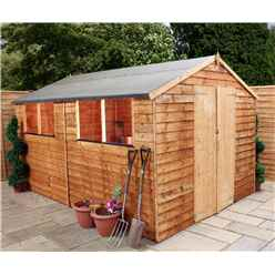 12ft x 8ft (3.55m x 2.51m) Cambridge Overlap Apex Shed With Double Doors + 4 Windows (10mm Solid OSB Floor)