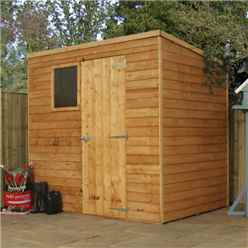7ft x 5ft Cambridge Overlap Pent Shed With Single Door + 1 Window (10mm Solid OSB Floor)