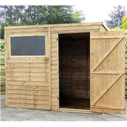 8ft x 6ft (2.37m x 1.79m) Cambridge Overlap Pent Shed With Single Door + 1 Window (solid 10mm OSB Floor)