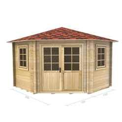 3m x 3m Premier Robella Log Cabin - Double Glazing - 34mm Wall Thickness