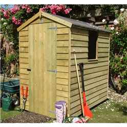6ft x 4ft (1.86m x 1.19m) - Pressure Treated Overlap - Apex Garden Shed - 1 Window - Single Door - 10mm Solid OSB Floor