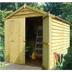 8ft x 6ft  (2.38m x 1.79m - Pressure Treated Overlap - Apex Garden Shed - Windowless - Double Doors - 10mm Solid OSB Floor