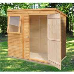 6ft x 4ft (1.16m x 1.77m) - Tongue & Groove - Pent Garden Shed/Workshop - 1 Opening Window - Single Door - 10mm Solid OSB Floor