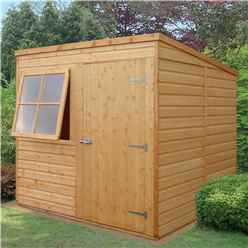 7ft x 7ft  (2.05m x 1.98m) - Stowe Tongue & Groove -  Pent Garden Shed / Workshop - 1 Opening Window - Single Door - 10mm OSB Floor