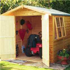 7ft x 7ft (2.05m x 2.05m) - Stowe Tongue & Groove - Apex Garden Shed / Workshop - 1 Opening Window - Double Doors - 12mm Tongue and Groove Floor
