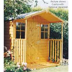 7ft x 7ft (2.05m x 1.98m) -  Stowe Tongue & Groove - Apex Garden Shed - Veranda - 2 Windows - Single Door - 12mm Tongue and Groove Floor