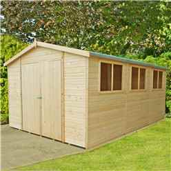 15ft x 10ft (4.48m x 2.99m) -  Stowe Tongue & Groove - Garden Shed / Workshop - 6 Windows - Double Doors - 12mm Tongue and Groove Floor & Roof