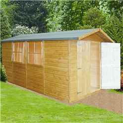 13ft x 7ft (403m x 1.98m) - Stowe Tongue & Groove Pressure Treated -  Apex Shed - 3 Windows - Double Doors - 12mm T&G Floor