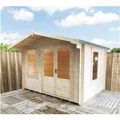 3.29m x 2.99m Stowe Waterloo Log Cabin - 19mm Wall Thickness
