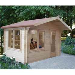 3.59m x 3.59m Stowe Eden Log Cabin - 28mm Wall Thickness