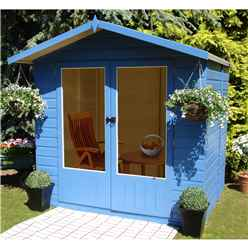 7ft x 5ft (2.05m x 1.55m)  - Premier Wooden Summerhouse - Double Doors - 12mm T&G Walls & Floor