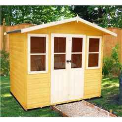 7ft x 5ft (2.05m x 1.62m)  - Premier Wooden Summerhouse - Central Double Doors - 12mm T&G Walls & Floor (Show Site)