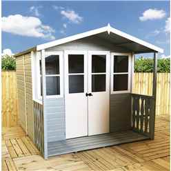 7ft x 7ft (2.05m x 1.55m) -  Premier Wooden Summerhouse - Double Doors - Side Windows - 12mm T&G Walls & Floor