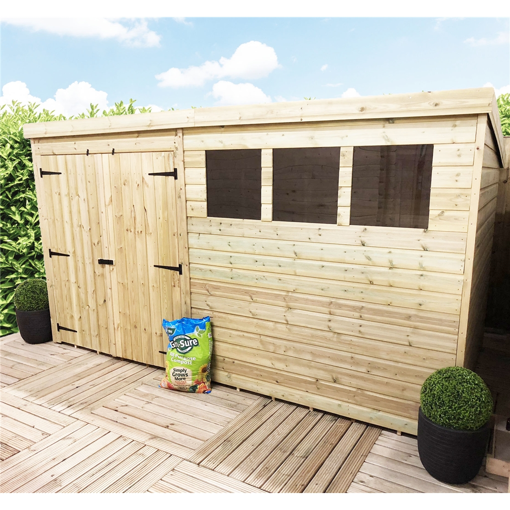 shedswarehousecom aston 14ft x 8ft pressure treated tongue groove pent shed double doors 3 windows