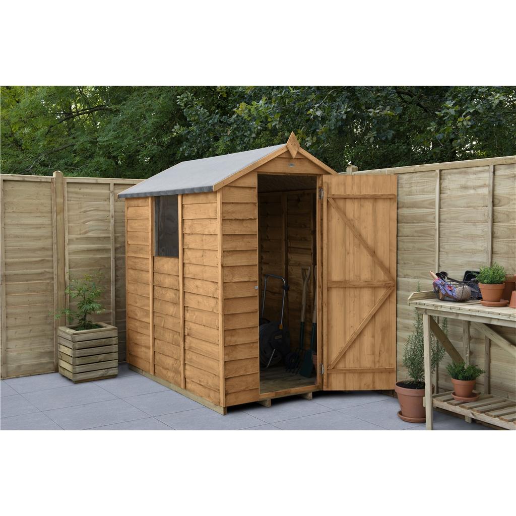 Hanbury 6ft x 4ft single door overlap apex wooden garden shed window - Garden sheds x ...