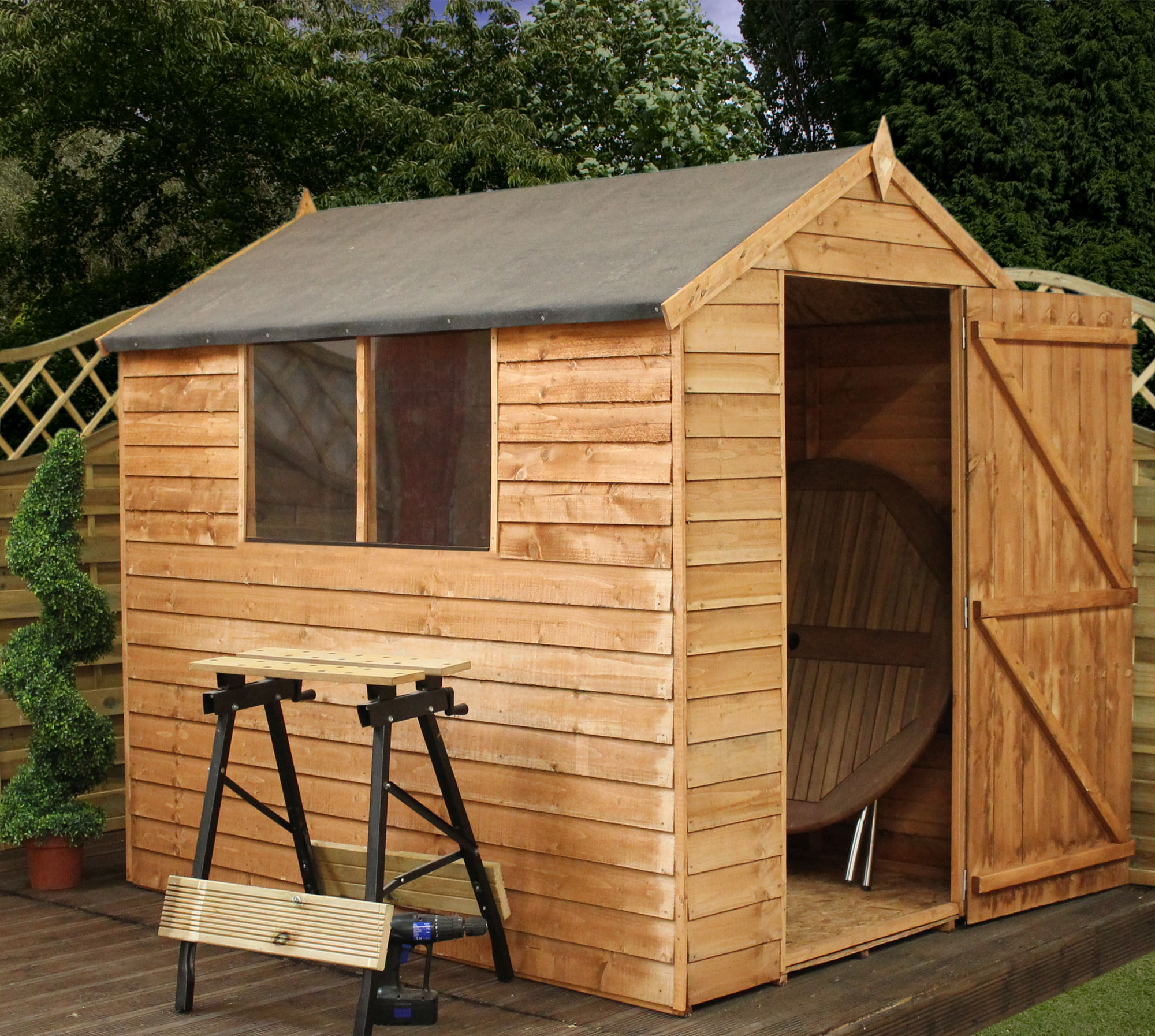 ShedsWarehouse.com | OXFORD | INSTALLED 7ft X 5ft Super Saver Overlap Apex  Shed With Single Door + 2 Windows (10mm Solid OSB Floor U0026 Roof)   INCLUDES  ...