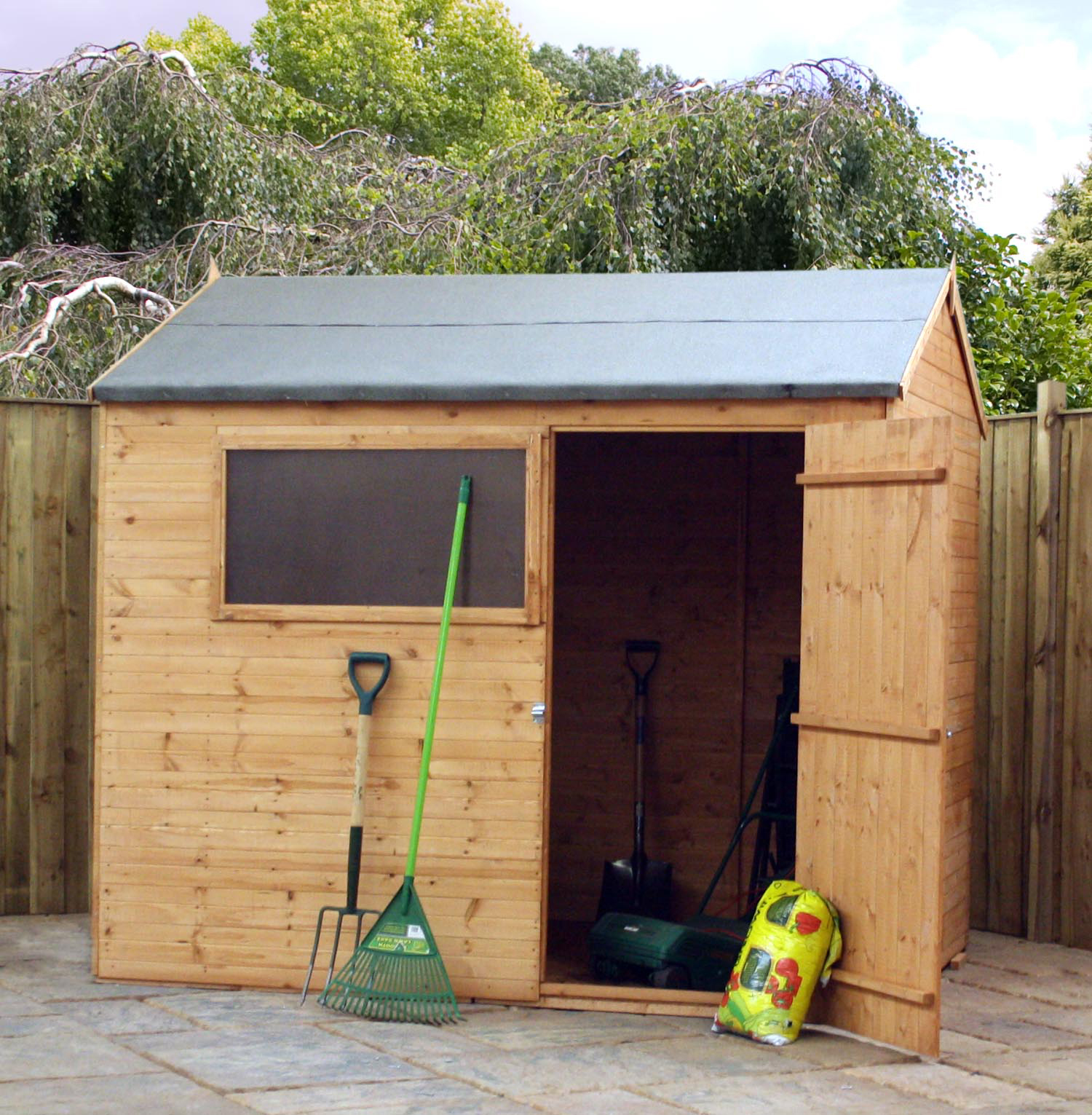 Shedswarehousecom Oxford Disco 2119 Installed 6ft X 8ft 191m X 239m Tongue And Groove Reverse Apex Shed With Single Door 1 Window 10mm