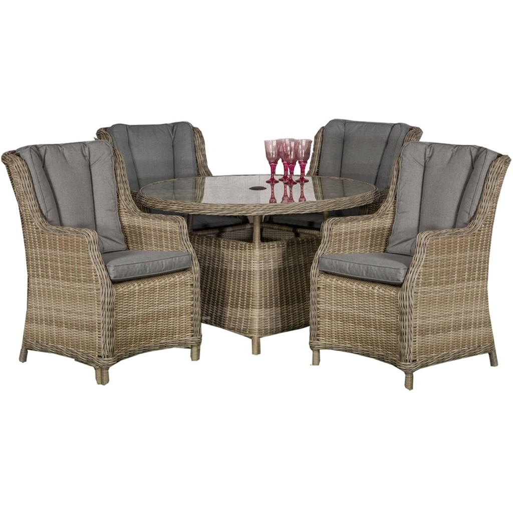 8 Seater Round Garden Dining Table And Chairs Set: Garden Furniture - Wentworth Rattan