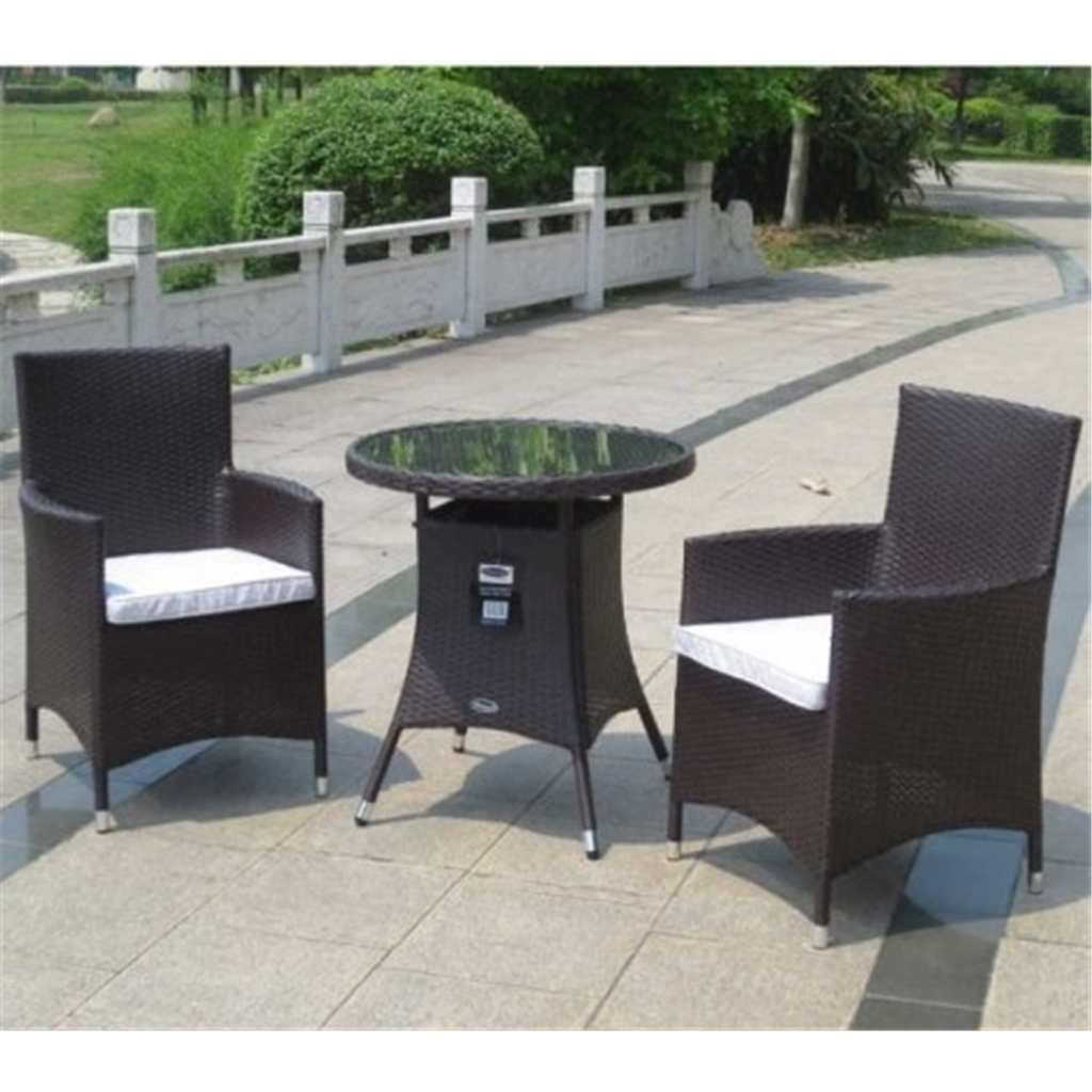 Picture of: Shedswarehouse Com Garden Furniture Naples Flat Weave Brown 2 Seater Naples Bistro Set 70cm Glass Top Table With 2 Carver Chairs Incl Cushion Free Next Working Day Delivery Mon Fri