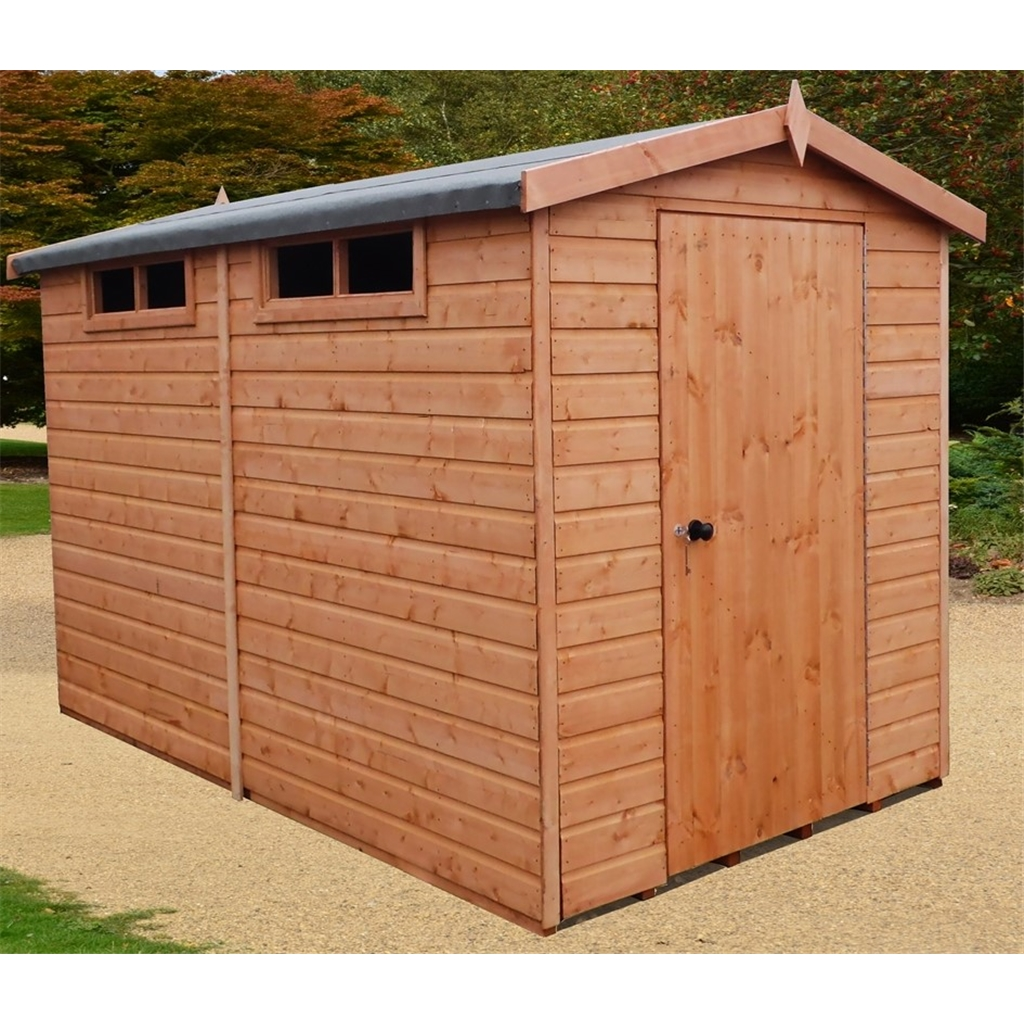 Shedswarehousecom Stowe 10ft X 8ft 299m X 239m Tongue And Groove Security Apex Garden Wooden Shed Workshop Single Door 12mm Tongue