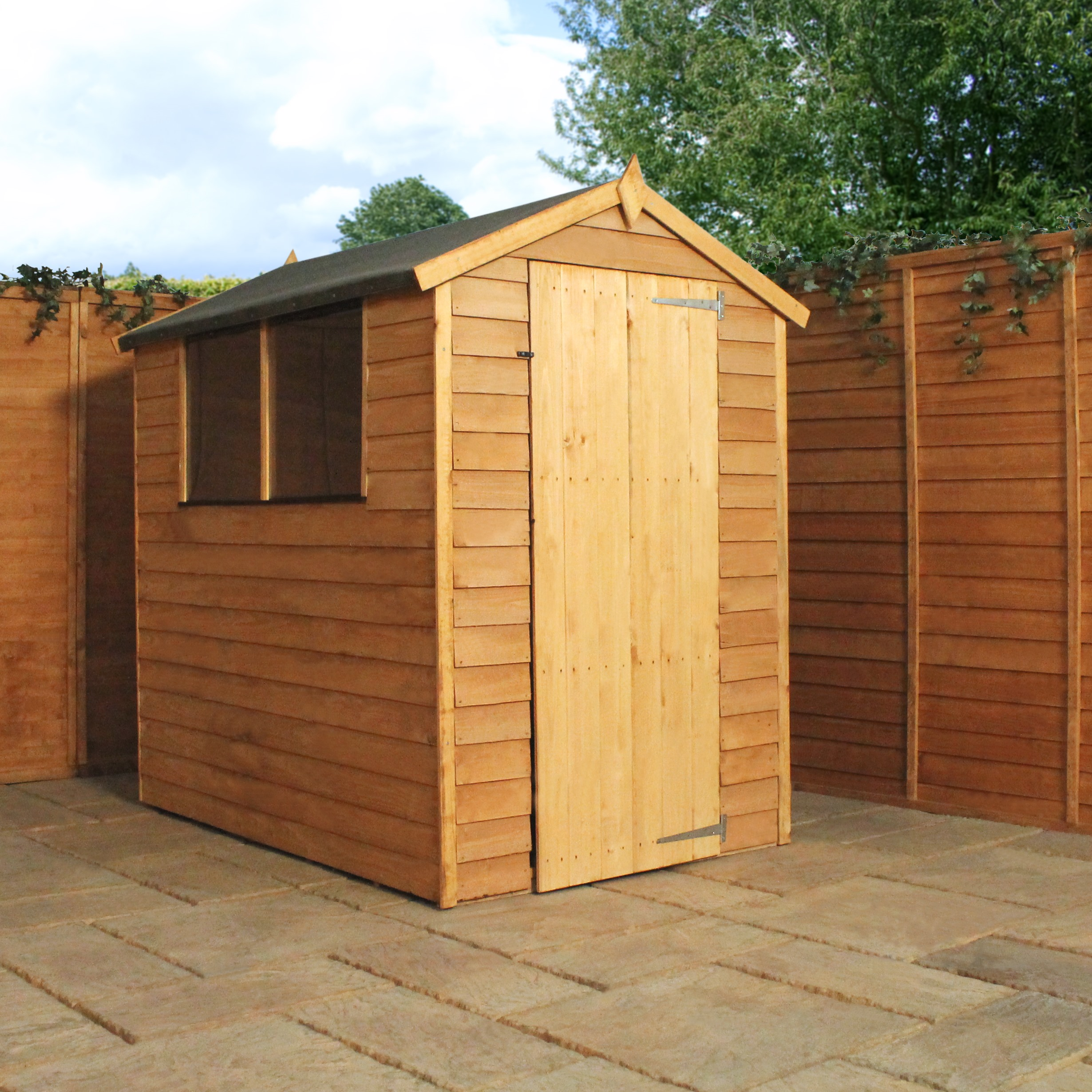 Shedswarehousecom Oxford 6ft X 4ft 179m X 131m Super Saver Overlap Apex Shed With Single Door 2 Windows 10mm Solid Osb Floor