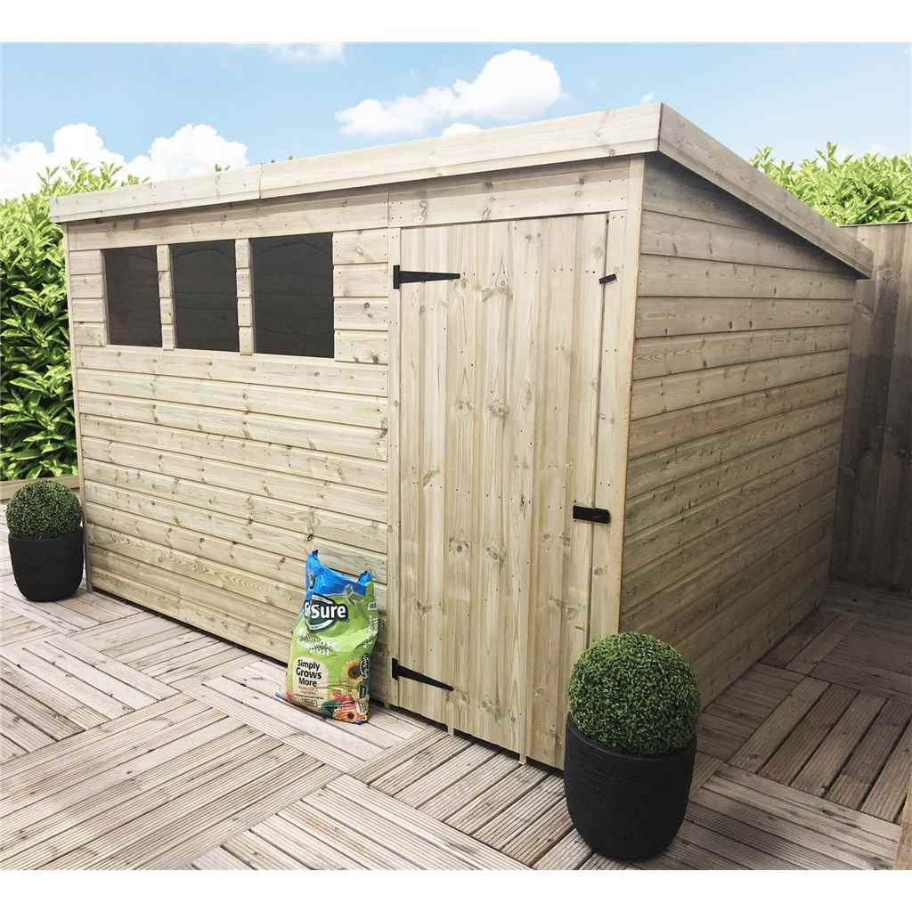 Shedswarehousecom Aston 10ft X 8ft Pressure Treated Tongue Groove Pent Shed With 3 Windows Single Door Safety Toughened Glass