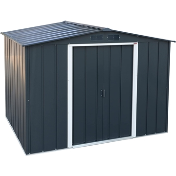 ShedsWarehouse com | Madrid | **PRE-ORDER ONLY - BACK IN STOCK MID JUNE**  8ft x 8ft Anthracite Metal Shed (2 61m x 2 42m)