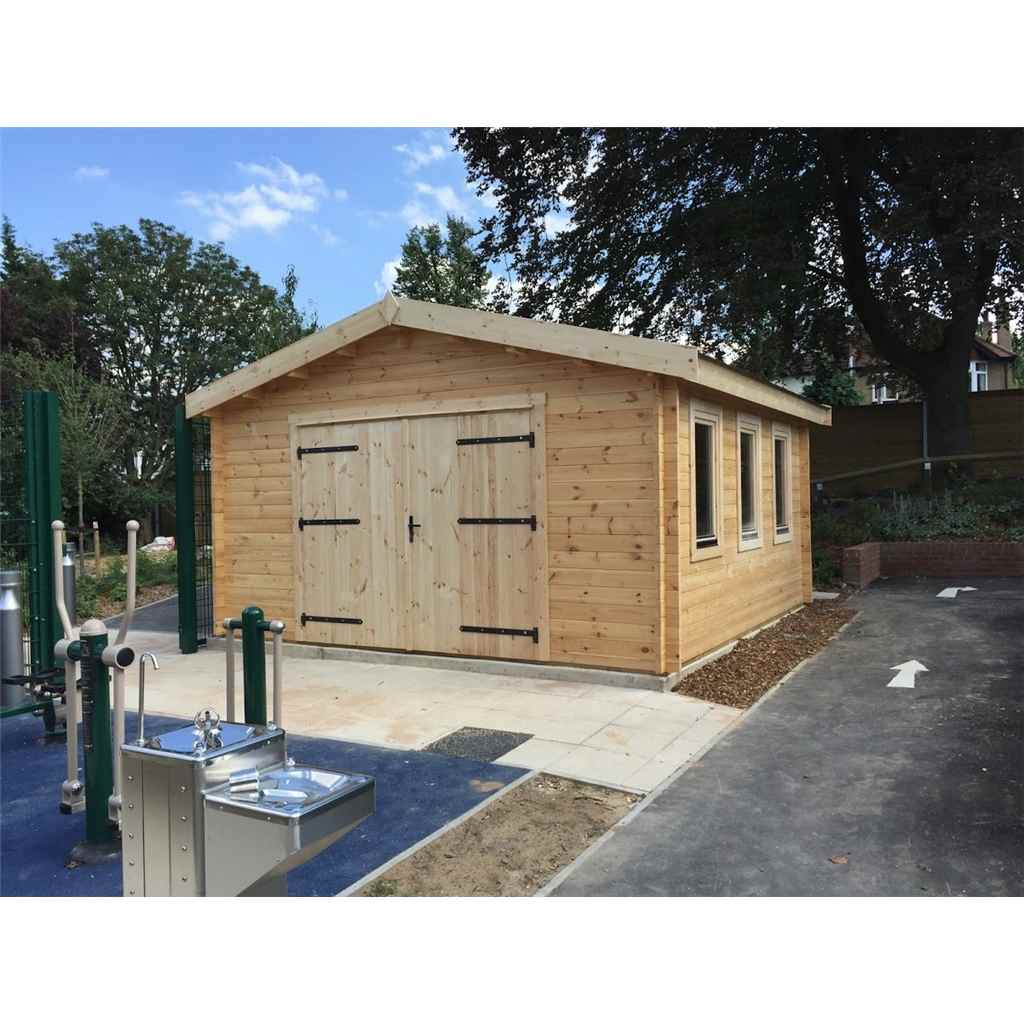 Relax 4m x 5m premier garage log for Log cabin style garages